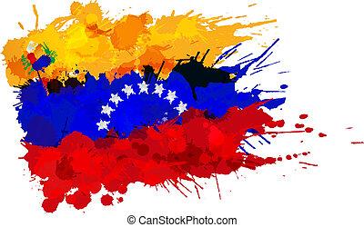 Bandera de Venezuela hecha de salpicaduras coloridas