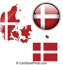 Bandera Dinamarca, mapa y botón brillante