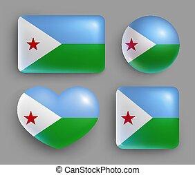 bandera djibouti, conjunto, país, brillante, botones