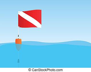 bandera, escafandra autónoma, flotar