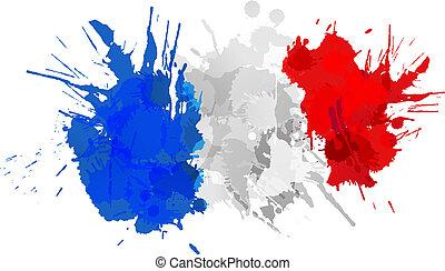 Bandera francesa hecha de salpicaduras coloridas