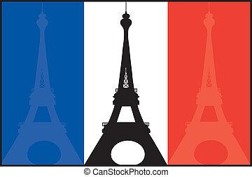 Bandera francesa y eiffel