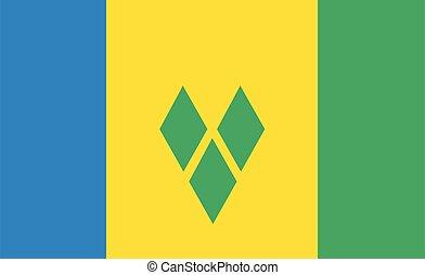 bandera, granadinas, s, vector, santo vincent