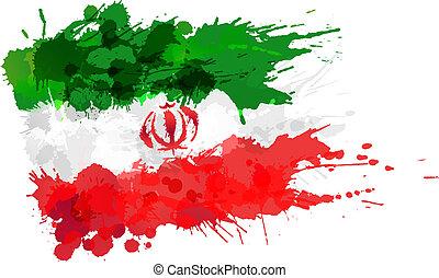 bandera, hecho, irán, salpicaduras, colorido
