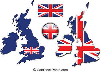 bandera inglesa, mapa, vector de botones