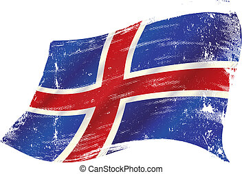 bandera, islandés, grunge