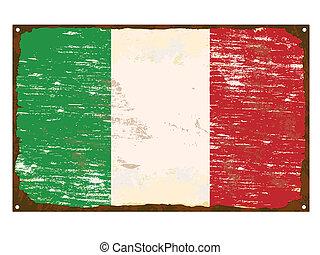 bandera, italiano, esmalte, señal