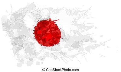 Bandera japonesa hecha de salpicaduras coloridas