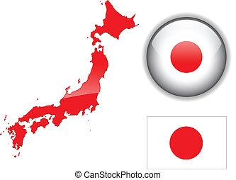 Bandera japonesa, mapa y botón brillante.