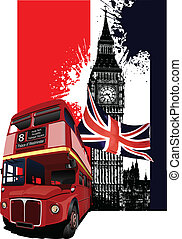 bandera, londres, grunge, autobús