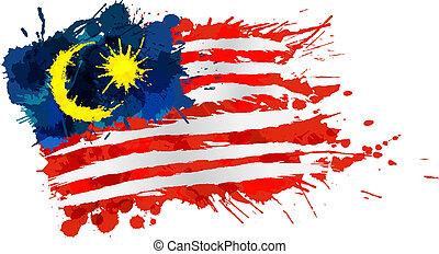 Bandera malaya hecha de salpicaduras coloridas