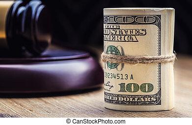bandera, martillo, billetes banco., soborno, todavía, fondo., justicia, estados unidos de américa, dólares, arrollado, martillo, judicial, gavel., vida, billetes de banco, nosotros, sistema, tribunal, juez, corrupción