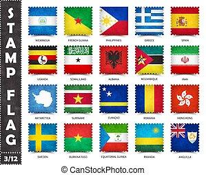 bandera, nacional, forma, banderas, esto, cuadrado, serie, países, grunge, nombre, mundo, país, todos, 3, patrón, estampilla, 12, vector, textura, (, conjunto, viejo, funcionario, )