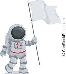 bandera ondeante, astronauta