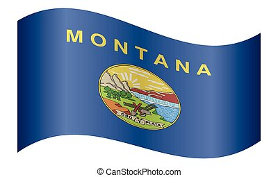 bandera ondeante, montana, fondo blanco