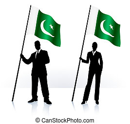 bandera, paquistán, ondulación, siluetas, empresa / negocio