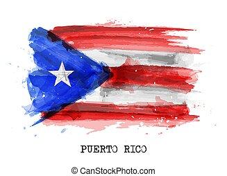 bandera, pintura, puerto, realista, acuarela, vector, rico