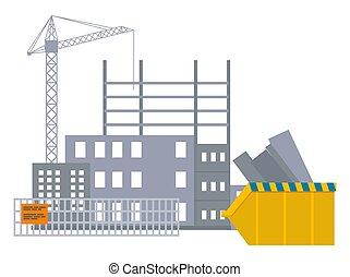 bandera, rascacielos, objeto, cerca, sitio, grúa construcción, debajo, atrás, vector, edificio
