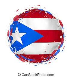 Bandera redonda de Puerto Rico con salpicaduras en color bandera.