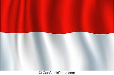 bandera, rojo blanco, indonesio, nacional