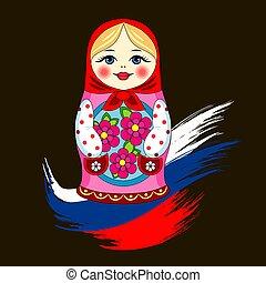 bandera, ruso, muñeca de matryoshka, rusia