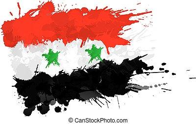 Bandera siria hecha de salpicaduras coloridas