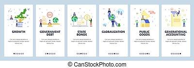 bandera, sitio, plantilla, estado, development., crecimiento, app, globalization., menú, deuda, screens., ilustración, onboarding, tela, dinero, gobierno, plano, sitio web, diseño, móvil, bonos, vector, inversión