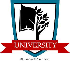 bandera, universidad, emblema, protector