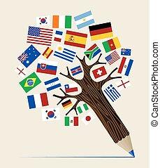 bandera, variedad, lápiz, árbol, concepto