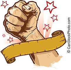 bandera, vector, fuerte, puño, ilustración