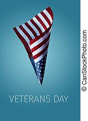 bandera, veteranos, texto, norteamericano, día