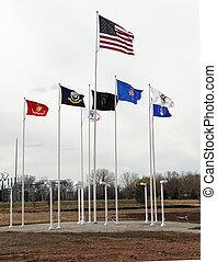 banderas, campos, mosca, veteranos, honor, militar, museo