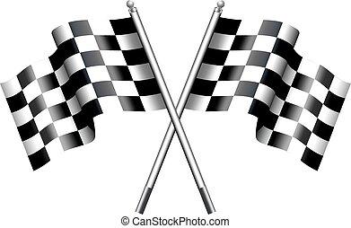 banderas, carreras, motor, chequered