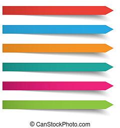 banderas, coloreado, 6, flechas, largo