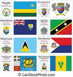 banderas, conjunto, 20, capitales, mundo