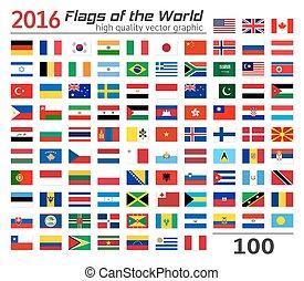 banderas, conjunto, diferente, countries.