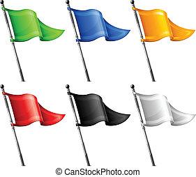 banderas, conjunto, triángulo