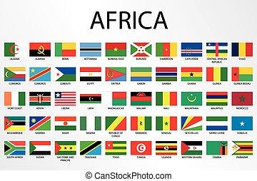 Banderas de campo alfabéticos para el continente de África