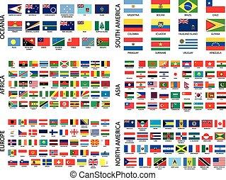 Banderas de campo alfabéticos por continente