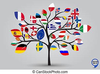 Banderas de Europa en diseño de árboles
