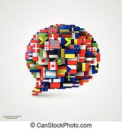 Banderas del mundo en forma de burbuja de habla