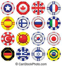 Banderas en fichas de casino