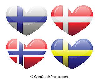 banderas, escandinavia, forma