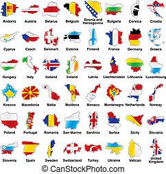 banderas europeas, mapa, detalles, forma