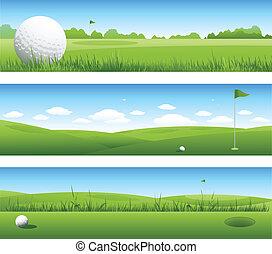 banderas, golf, plano de fondo