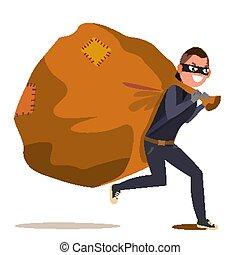 Bandido con vector de bolsa. Ilustración de personajes de dibujos planos