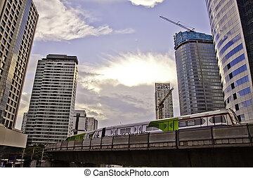 bangkok, skytrain, cityscape, metropolitant, architectures., escenas, ser, reflejar, medio, modernización, parte, tomado, estación, tiene