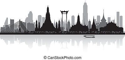 bangkok, tailandia, silueta del horizonte, ciudad