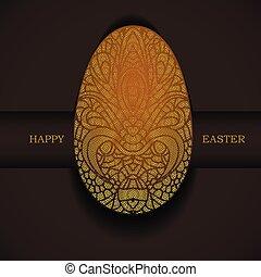 Banner con huevo ornamental dorado. Feliz fiesta de Pascua.