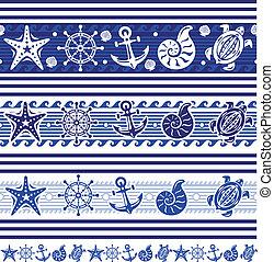 Banners con símbolos náuticos y marinos